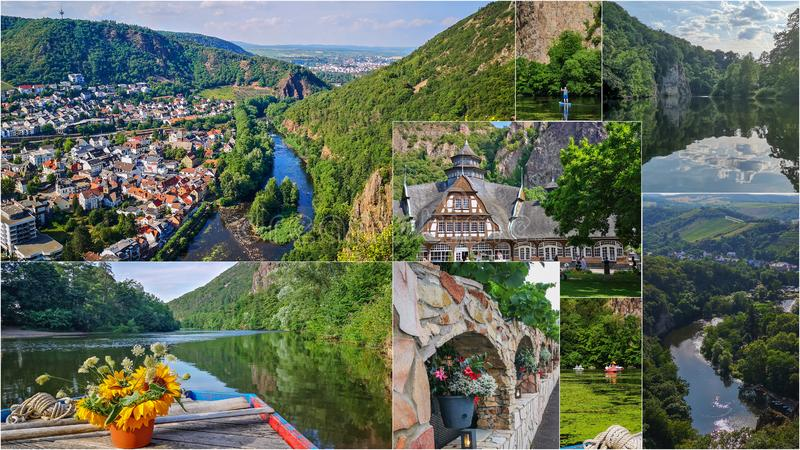 Collage of summer photos of Bad Munster am Stein,Germany.Panorama,supsurfer,river with reflections,ferry and sunflowers. Summer Bad Munster am Stein,Germany.Top royalty free stock image