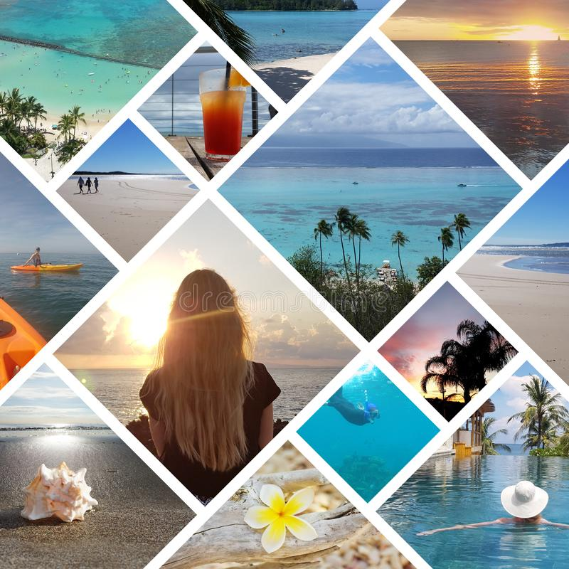 Collage of sunny tropical beach vacation travel photos royalty free stock photos
