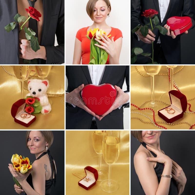 Collage sur le thème de l'amour Anneaux de mariage, verres de vin, gi photographie stock libre de droits