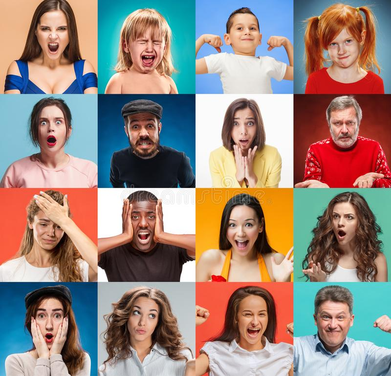 The collage of surprised people royalty free stock photo