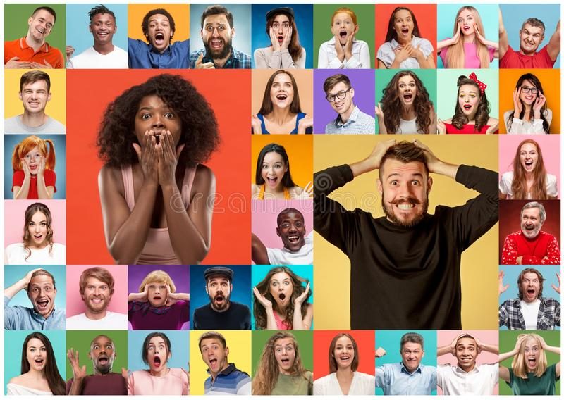The collage of surprised people royalty free stock photos