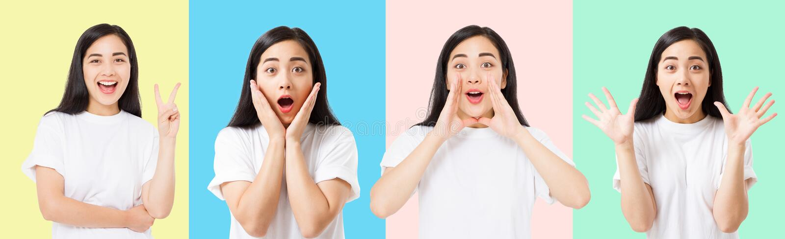 Collage of surprised shocked excited asian woman face isolated on colorful background. Young asian girl in summer t shirt. stock images
