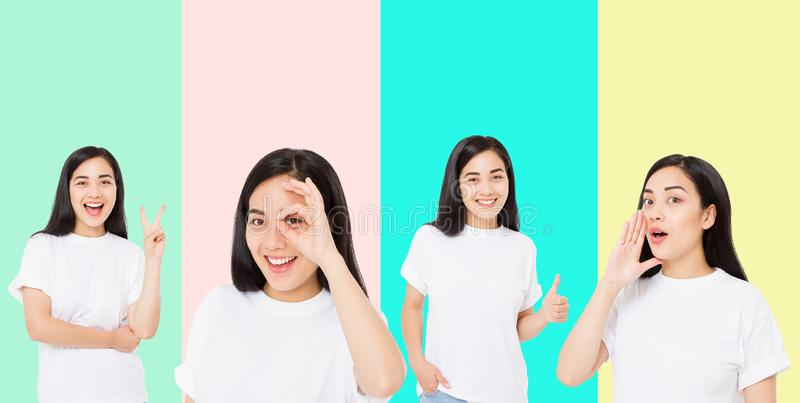 Collage of surprised shocked excited asian woman face isolated on colorful background. Young asian girl in summer t shirt. Copy royalty free stock photo