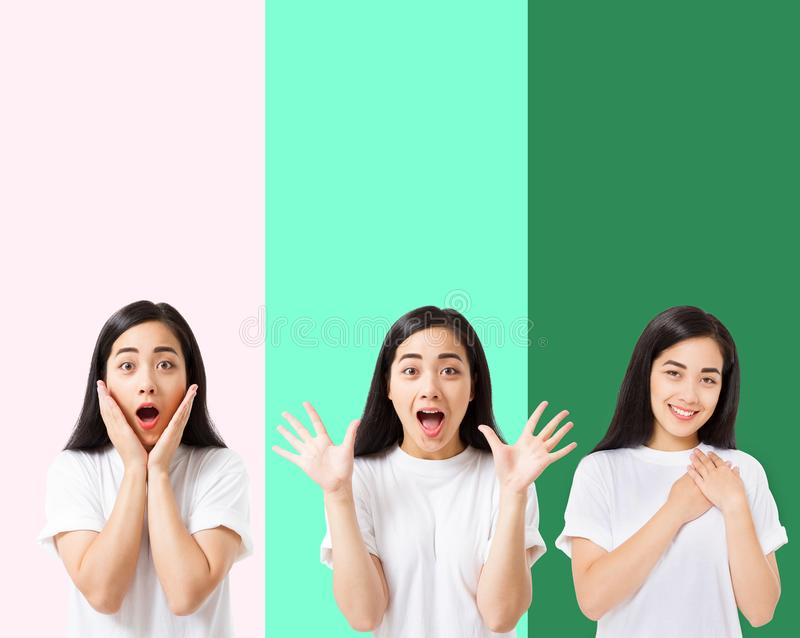 Collage of surprised shocked excited asian woman face isolated on colorful background. Young asian girl in summer t shirt. Copy royalty free stock photos