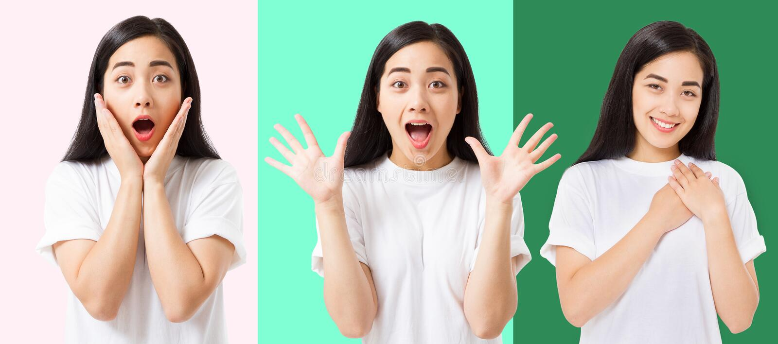 Collage of surprised shocked excited asian woman face isolated on colorful background. Young asian girl in summer t shirt. Copy stock photos