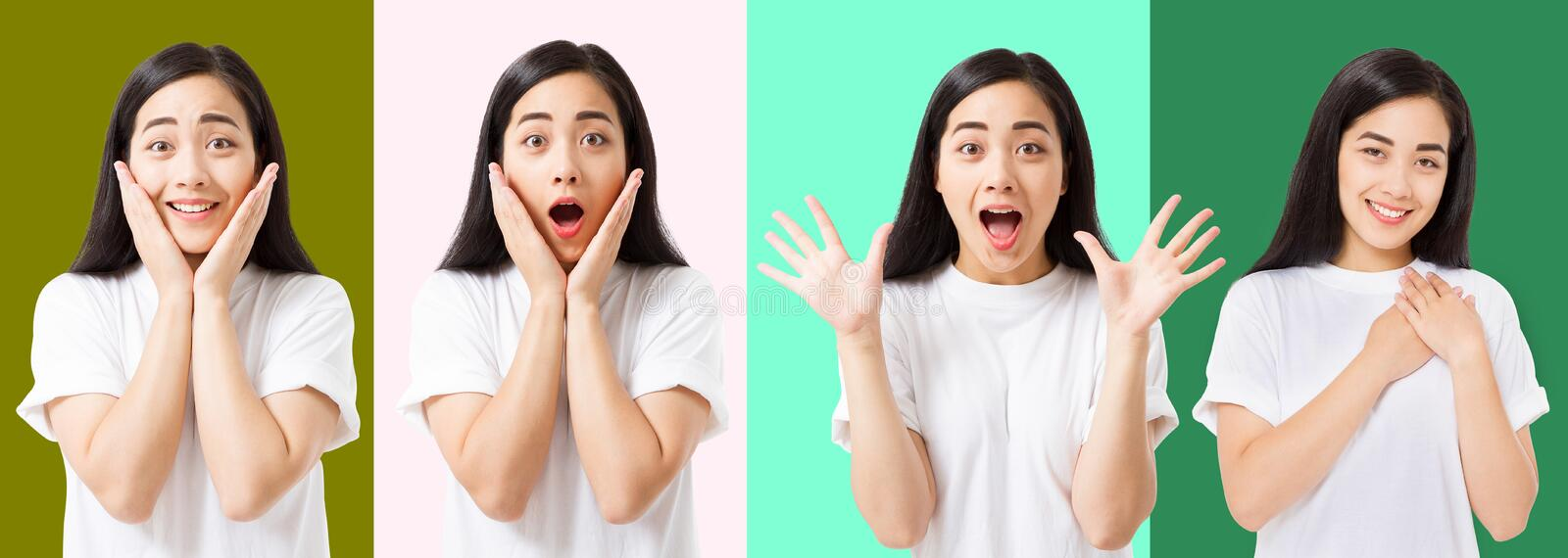Collage of surprised shocked excited asian woman face isolated on colorful background. Young asian girl in summer t shirt. Copy stock photography