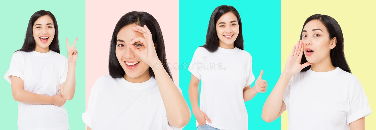 Collage of surprised shocked excited asian woman face isolated on colorful background. Young asian girl in summer t shirt. Copy royalty free stock photography