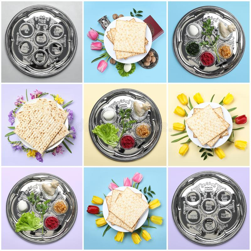 Collage of symbolic Passover Pesach meal and dishware on color background royalty free stock photo