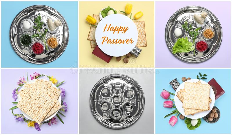 Collage of symbolic Passover Pesach meal and dishware on color background stock photography