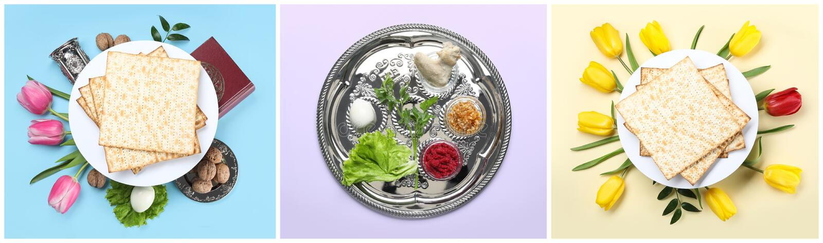 Collage of symbolic Passover Pesach meal and dishware on color background. Top view royalty free stock image
