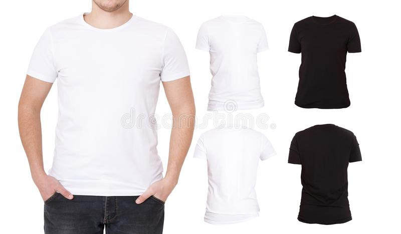 Collage T Shirts. Black, White. Front and back view Shirt. Template. Macro tshirt set isolated. Blank background advertising royalty free stock photo