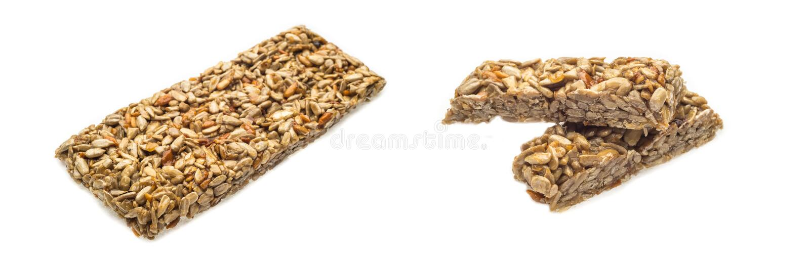 Collage tasty dietary food crispy cracker with sunflower seeds isolated on white background stock photography
