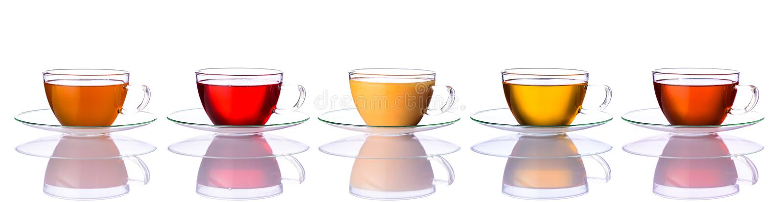 Collage of Tea Cups. Tea cups in collage with different types of tea isolated on white background