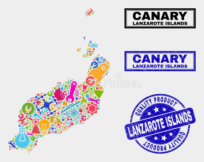 Collage of Technology Lanzarote Islands Map and Quality Product Seal stock illustration