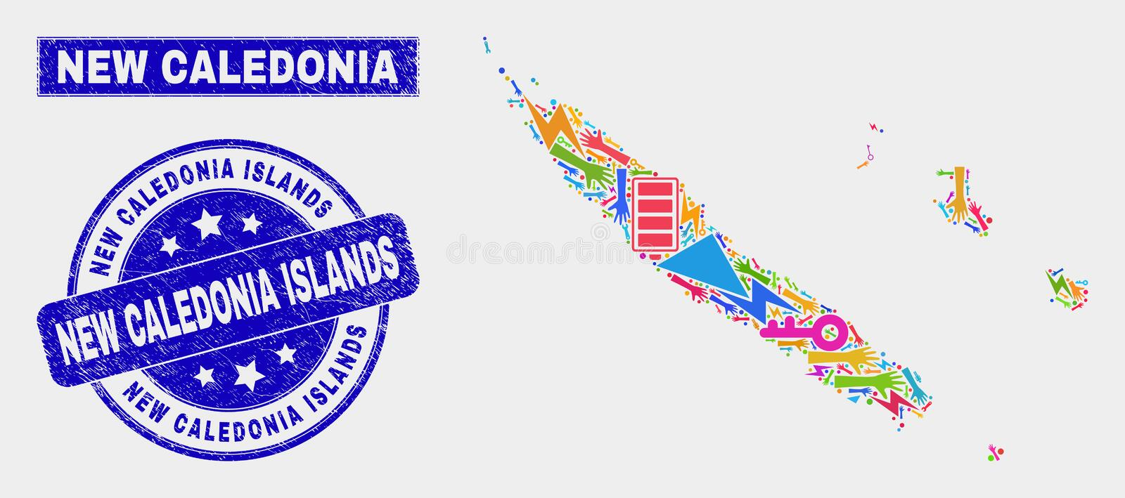 Collage Technology New Caledonia Islands Map and Scratched New Caledonia Islands Stamp royalty free illustration