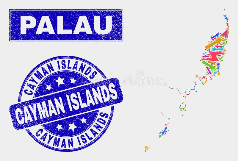 Collage Technology Palau Map and Grunge Cayman Islands Stamp Seal stock illustration