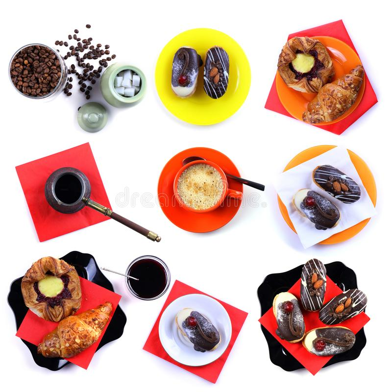 Collage on the theme of coffee, cakes and croissant royalty free stock image