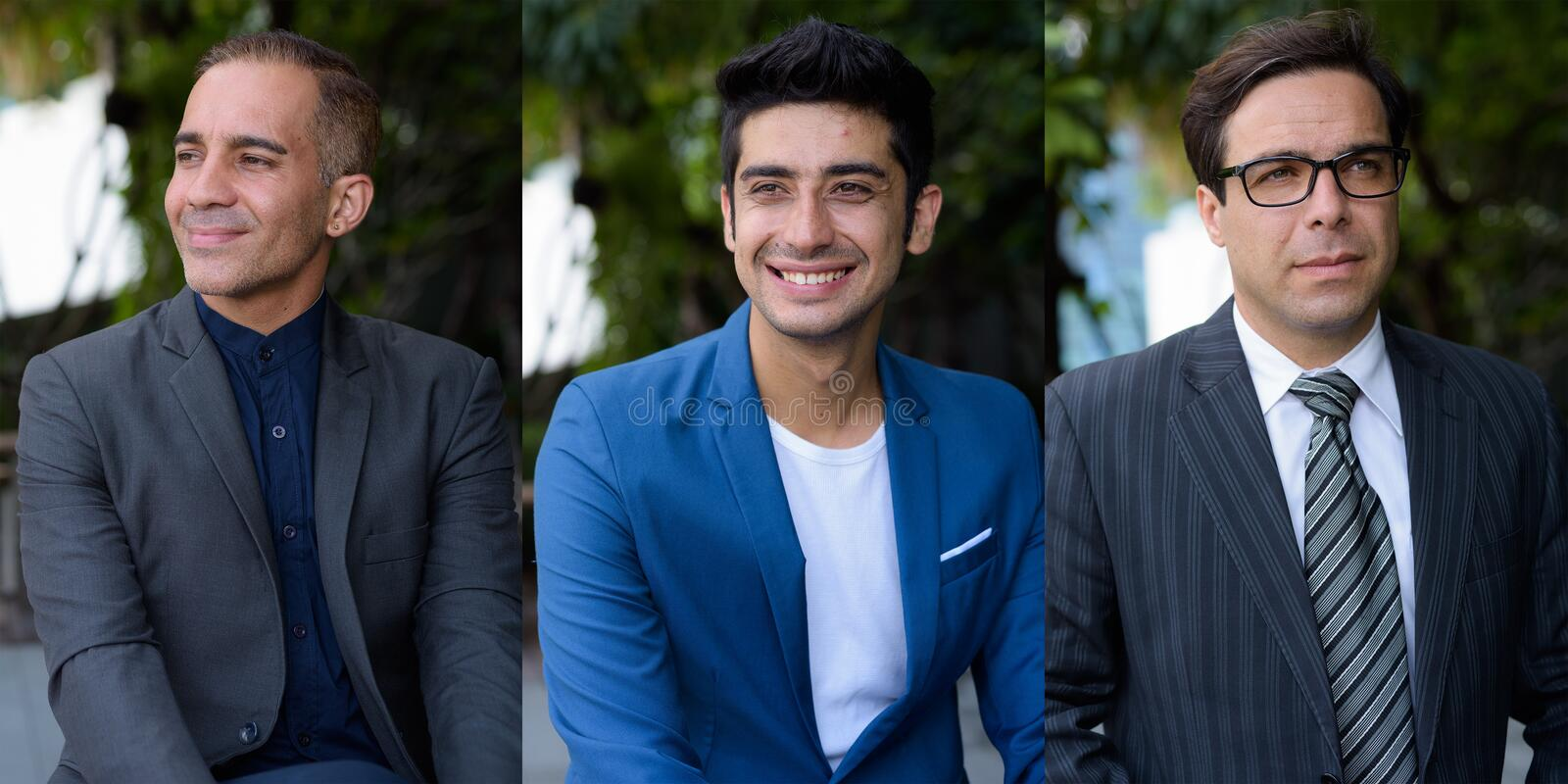Collage of three happy Persian businessmen thinking outdoors royalty free stock photography