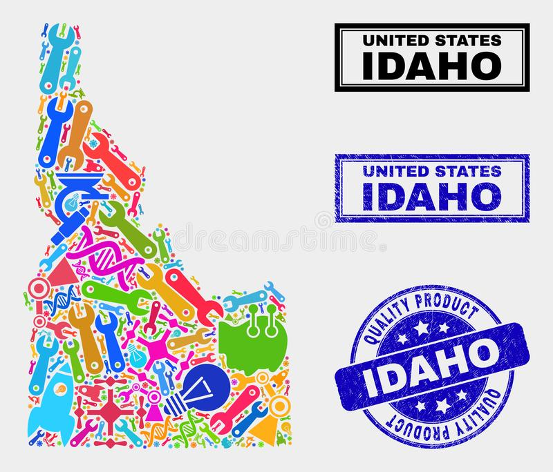 Collage of Tools Idaho State Map and Quality Product Seal. Vector collage of service Idaho State map and blue seal stamp for quality product. Idaho State map vector illustration