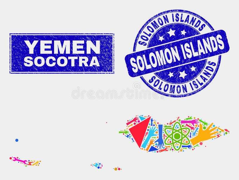 Collage Tools Socotra Archipelago Map and Distress Solomon Islands Watermark. Mosaic technology Socotra Archipelago map and Solomon Islands seal stamp. Socotra stock illustration