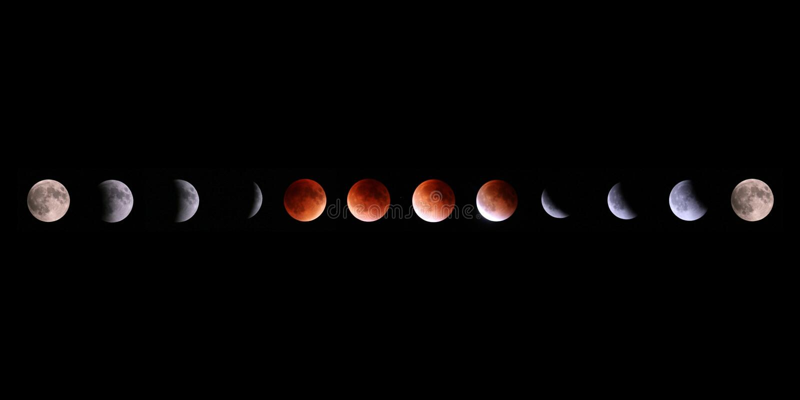 Collage total d'éclipse lunaire de Supermoon photographie stock