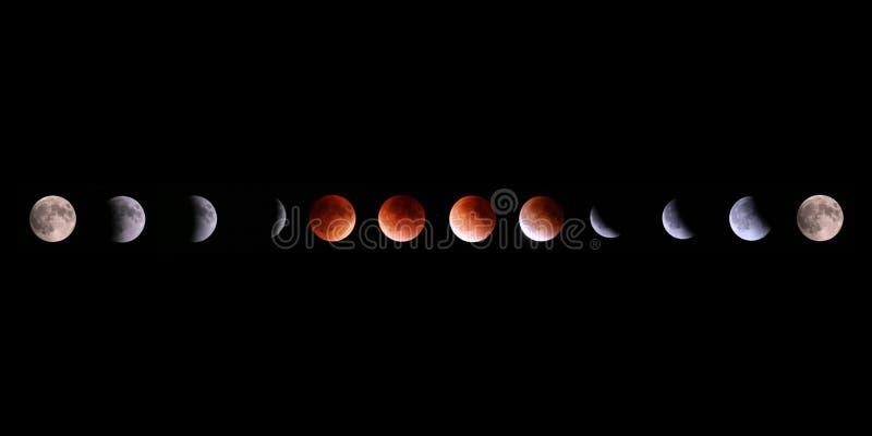 Collage totale di eclissi lunare di Supermoon fotografia stock