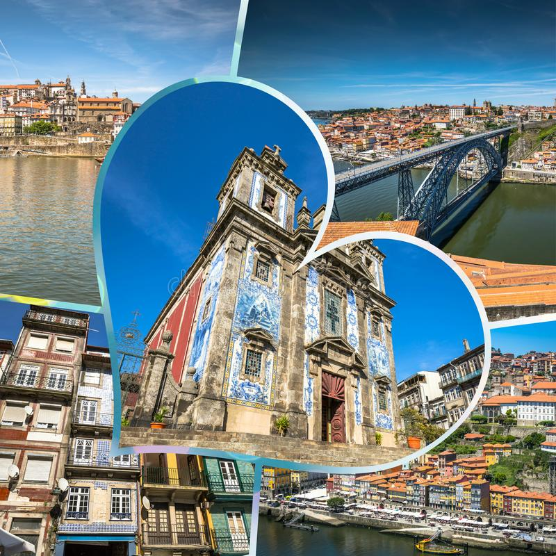 Collage of tourist photos of the Porto, Portugal. Collage of tourist photos of the Porto, Portugal stock images