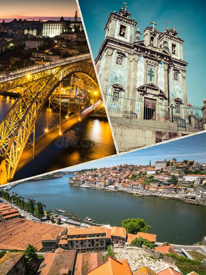 Collage of tourist photos of the Porto, Portugal. Collage of tourist photos of the Porto, Portugal royalty free stock images
