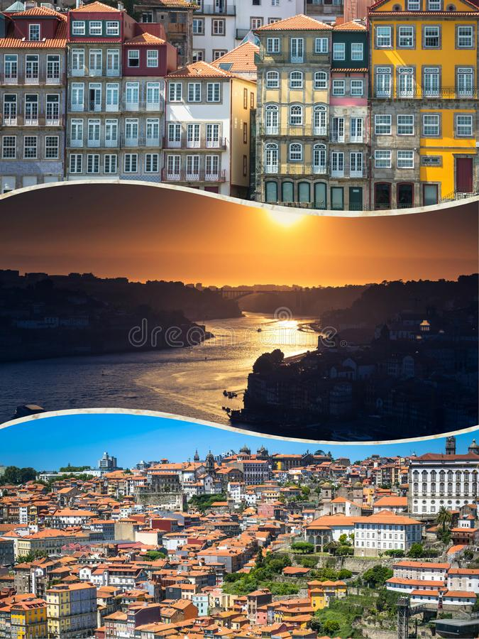 Collage of tourist photos of the Porto, Portugal. Collage of tourist photos of the Porto, Portugal royalty free stock photography