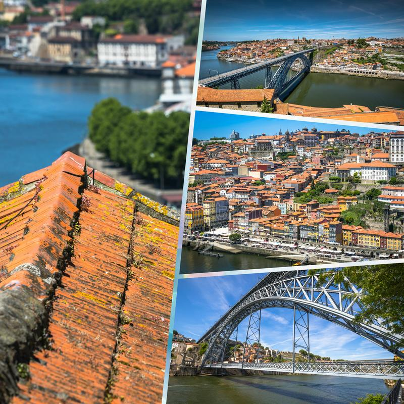 Collage of tourist photos of the Porto, Portugal. Collage of tourist photos of the Porto, Portugal stock photography