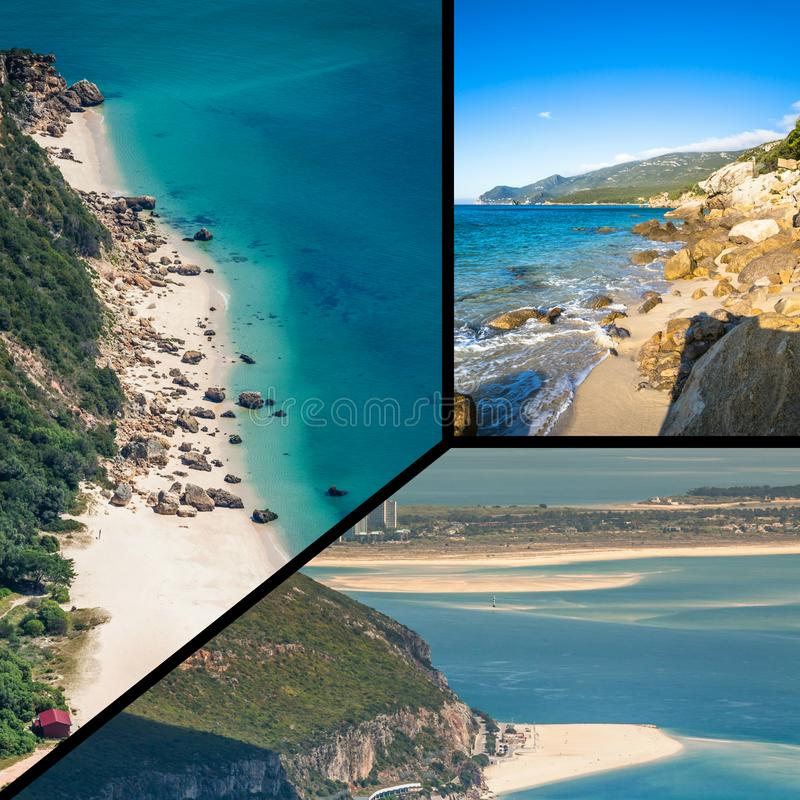 Collage of tourist photos of the Sintra, Portugal. Collage of tourist photos of the Sintra, Portugal royalty free stock photos