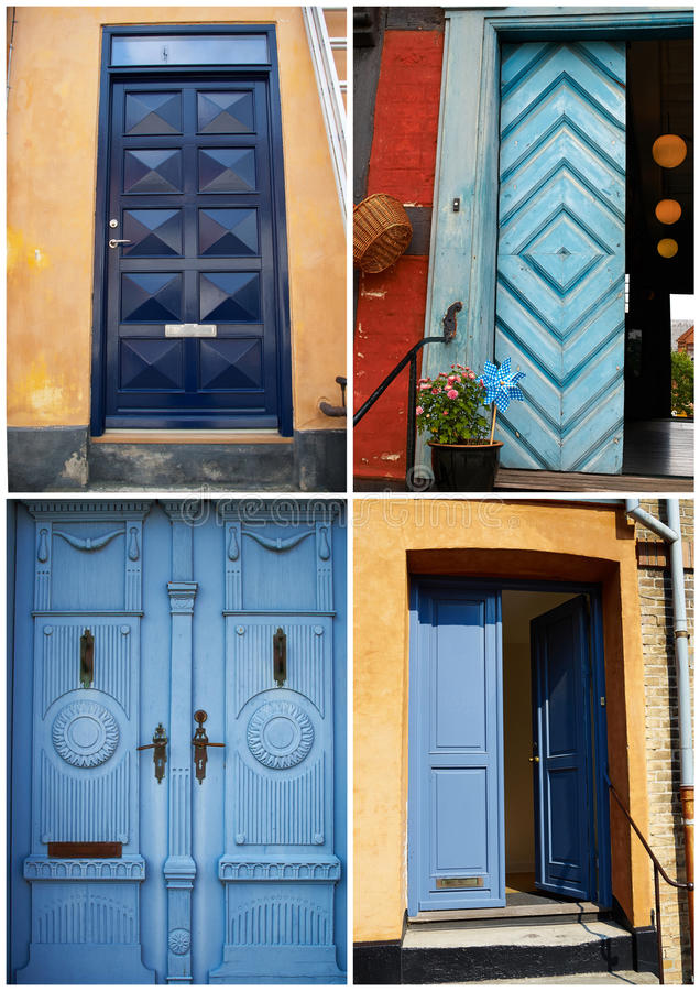 Collage Of Traditional Front Doors Denmark Stock Photo Image Of