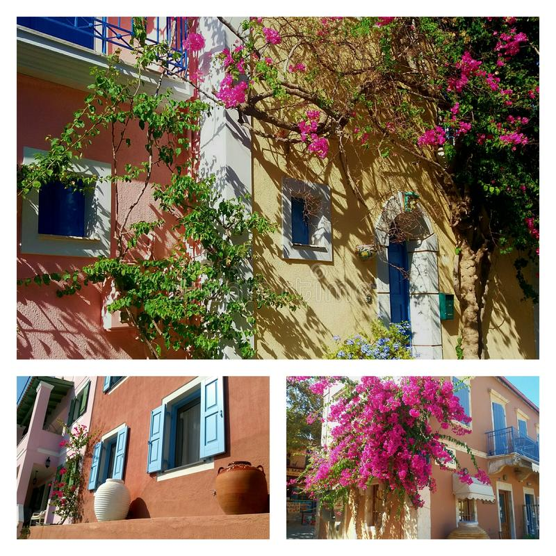 Collage of traditional greek houses stock images