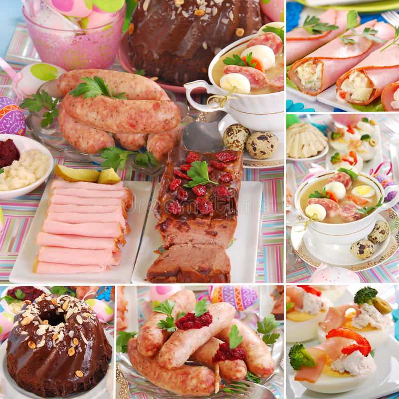 Collage with traditional polish easter dishes stock photo