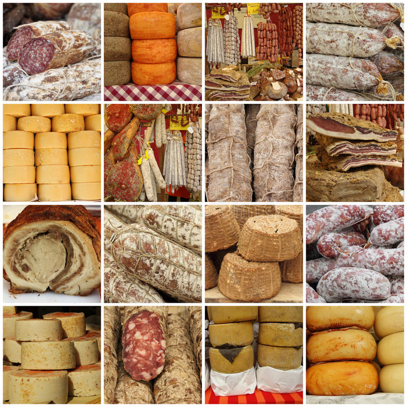 Collage with traditional typical italian sausages stock photos