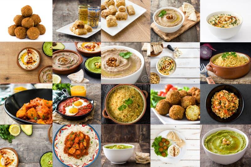 Collage traditionnel de nourriture de Moyen-Orient photo stock