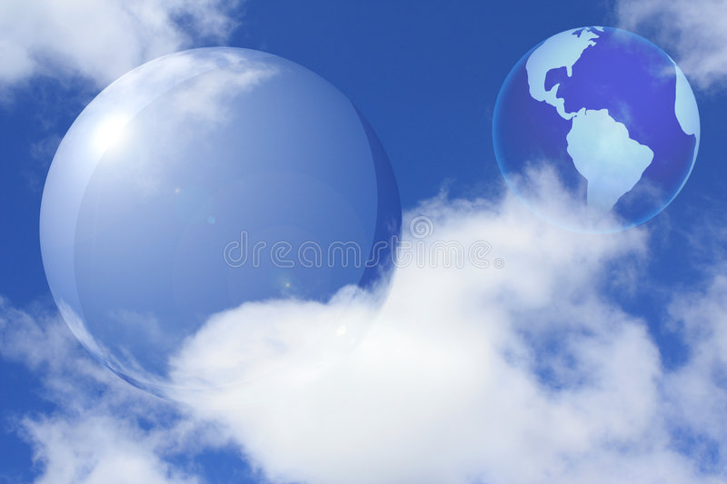 Collage with transparent sphere and Earth stock photos