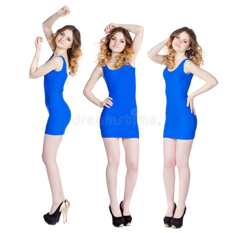 Collage, trois jeunes femmes sexy dans la robe bleue photos libres de droits