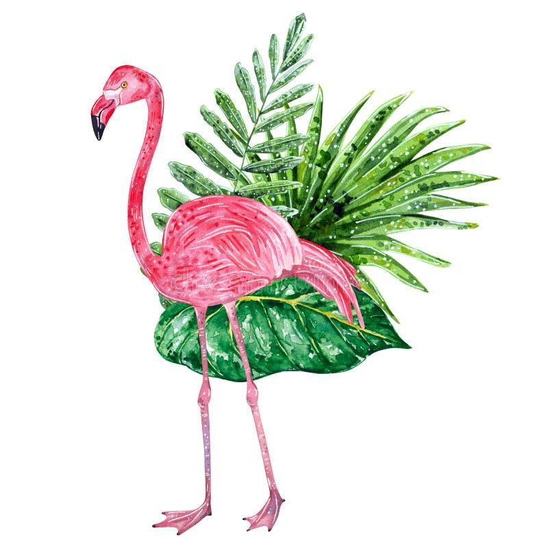 Collage tropical avec les feuilles et le flamant rose illustration de vecteur