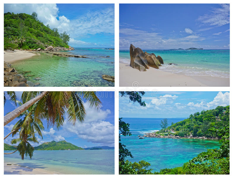 Download Collage Of Tropical Landscapes, Seychelles Stock Image - Image: 24337481