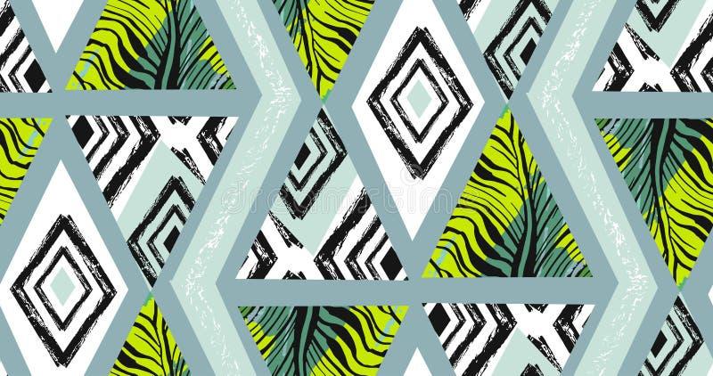 Collage tropicale senza cuciture strutturato a mano libera del modello dell'estratto disegnato a mano di vettore con il motivo de fotografia stock