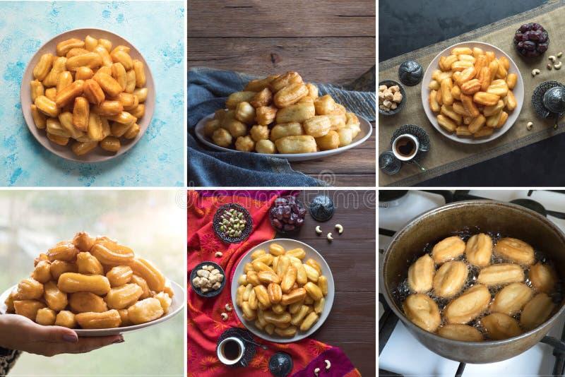 Collage with Turkish desserts Tulumba. Arabic sweets celebration Eid Ramadan.  stock images