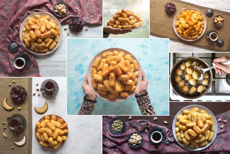 Collage with Turkish desserts Tulumba. Arabic sweets celebration Eid Ramadan.  stock photography