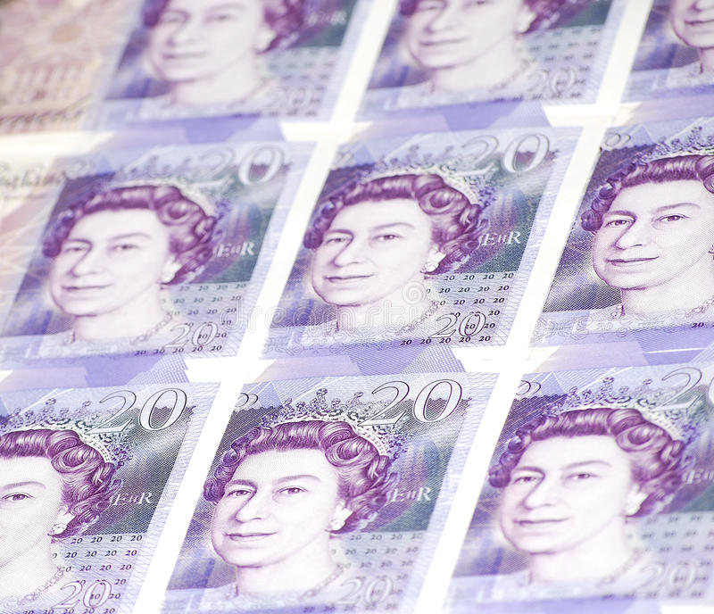 Collage of Twenty (20) Pounds Banknotes royalty free stock photos