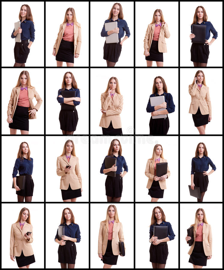 Collage of two business woman on white background stock photo