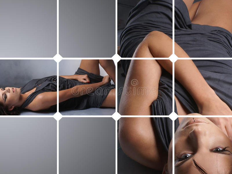 A Collage Of Two Images With A Young Woman Royalty Free Stock Image