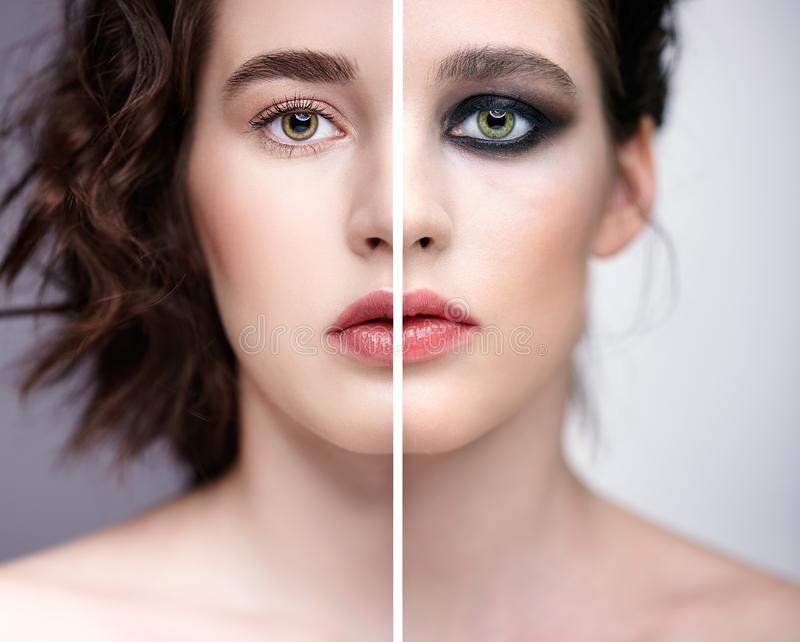 Collage of two photos. Closeup macro portrait of female face with nude makeup and violet - black smoky eyes beauty make-up stock images