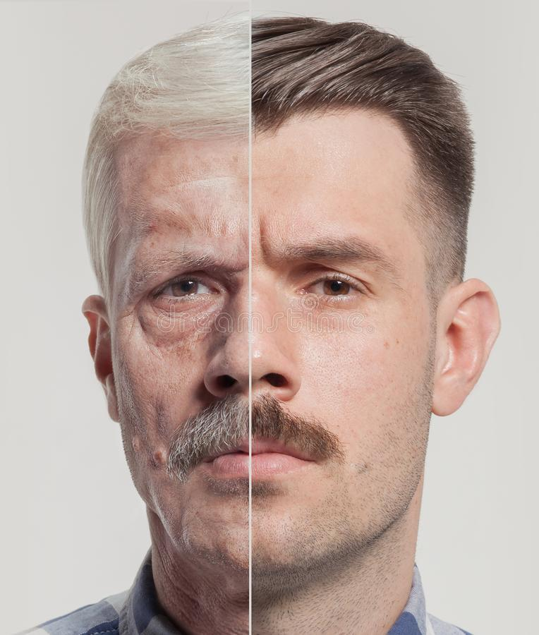 Collage of two portraits of the same old man and young man. Face lifting, aging and skincare concept. Conparison royalty free stock photography