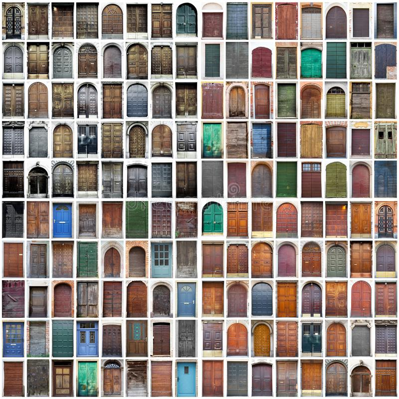 Download Typical Vintage Wooden Doors Collage Stock Photo - Image of retro, door: 104655962