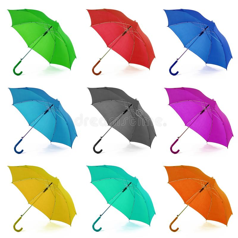 collage umbrella in white background stock images